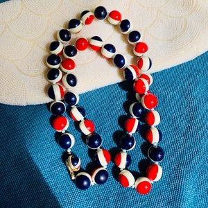 Vintage 1960s red, white, blue beaded necklace